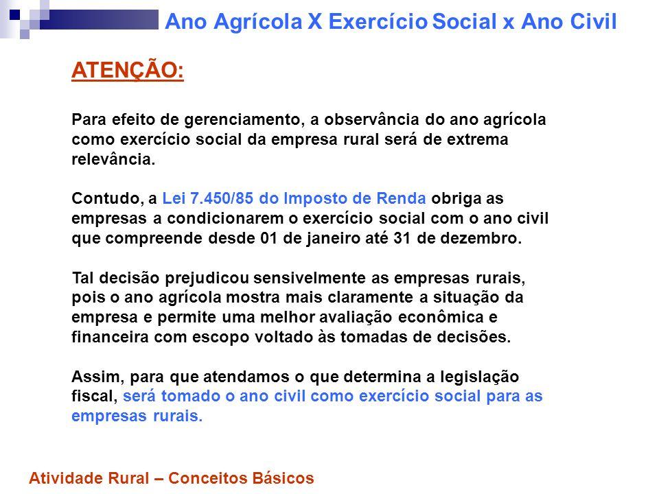 Ano Agrícola X Exercício Social x Ano Civil ATENÇÃO: Para efeito de gerenciamento, a observância do ano agrícola como exercício social da empresa rura