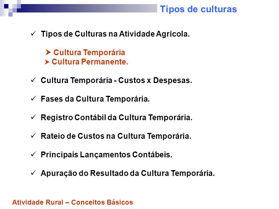 Tipos de culturas Tipos de Culturas na Atividade Agrícola. Cultura Temporária Cultura Permanente. Cultura Temporária - Custos x Despesas. Fases da Cul