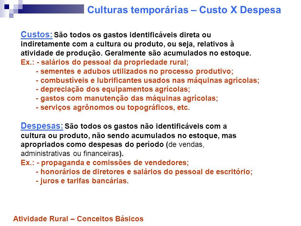Culturas temporárias – Custo X Despesa Custos: São todos os gastos identificáveis direta ou indiretamente com a cultura ou produto, ou seja, relativos