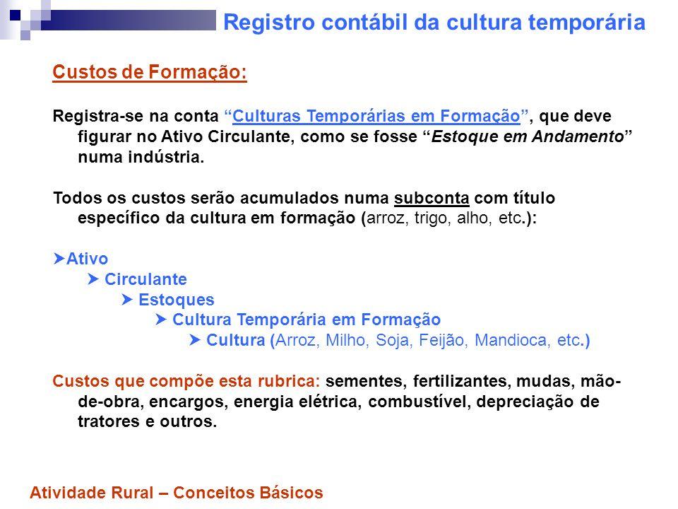 Registro contábil da cultura temporária Custos de Formação: Registra-se na conta Culturas Temporárias em Formação, que deve figurar no Ativo Circulant