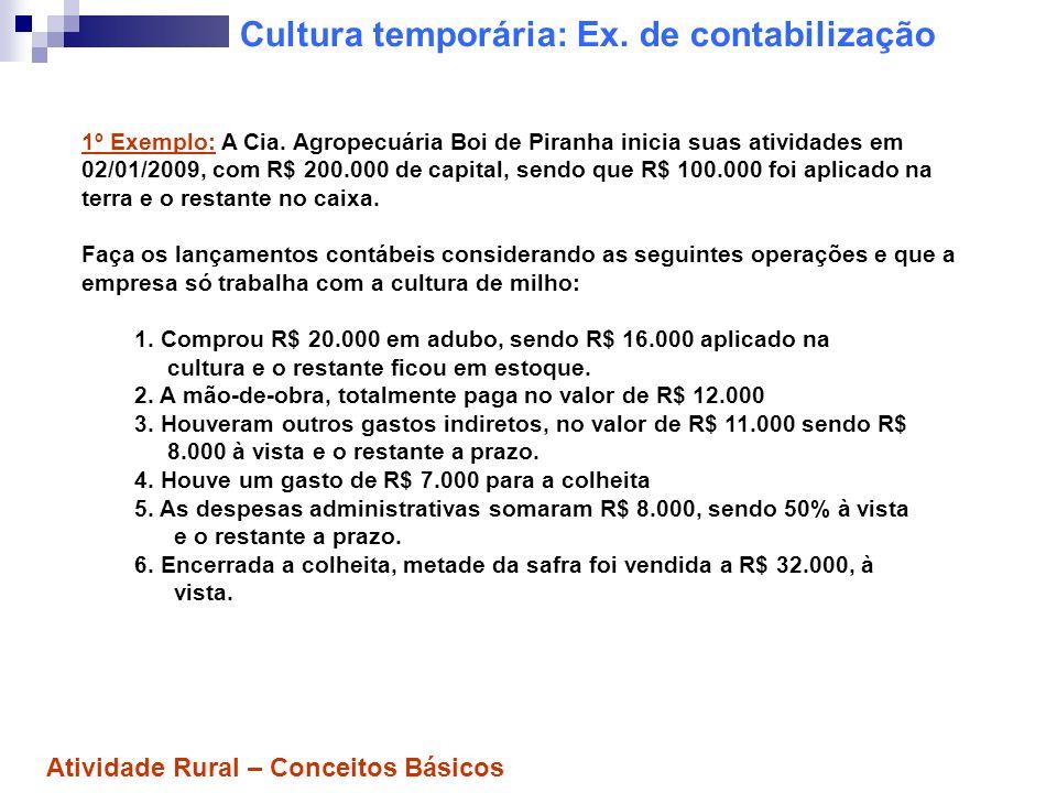 Cultura temporária: Ex. de contabilização 1º Exemplo: A Cia. Agropecuária Boi de Piranha inicia suas atividades em 02/01/2009, com R$ 200.000 de capit