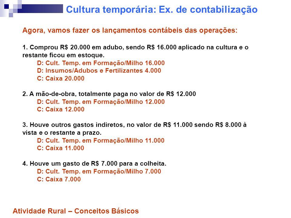 Cultura temporária: Ex. de contabilização Agora, vamos fazer os lançamentos contábeis das operações: 1. Comprou R$ 20.000 em adubo, sendo R$ 16.000 ap