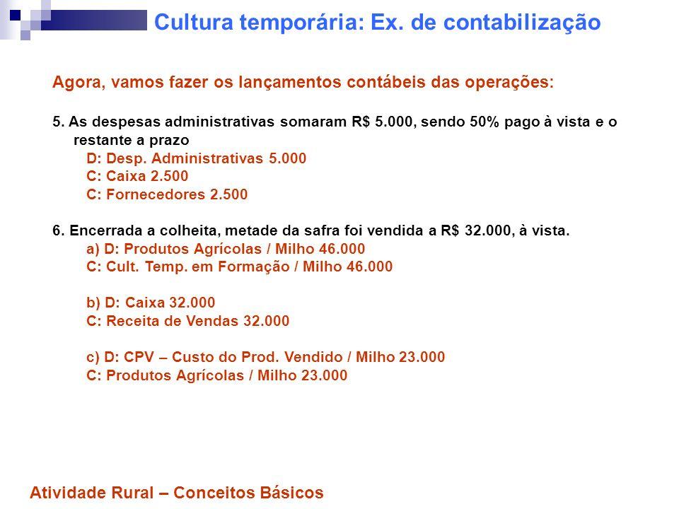 Cultura temporária: Ex. de contabilização Agora, vamos fazer os lançamentos contábeis das operações: 5. As despesas administrativas somaram R$ 5.000,