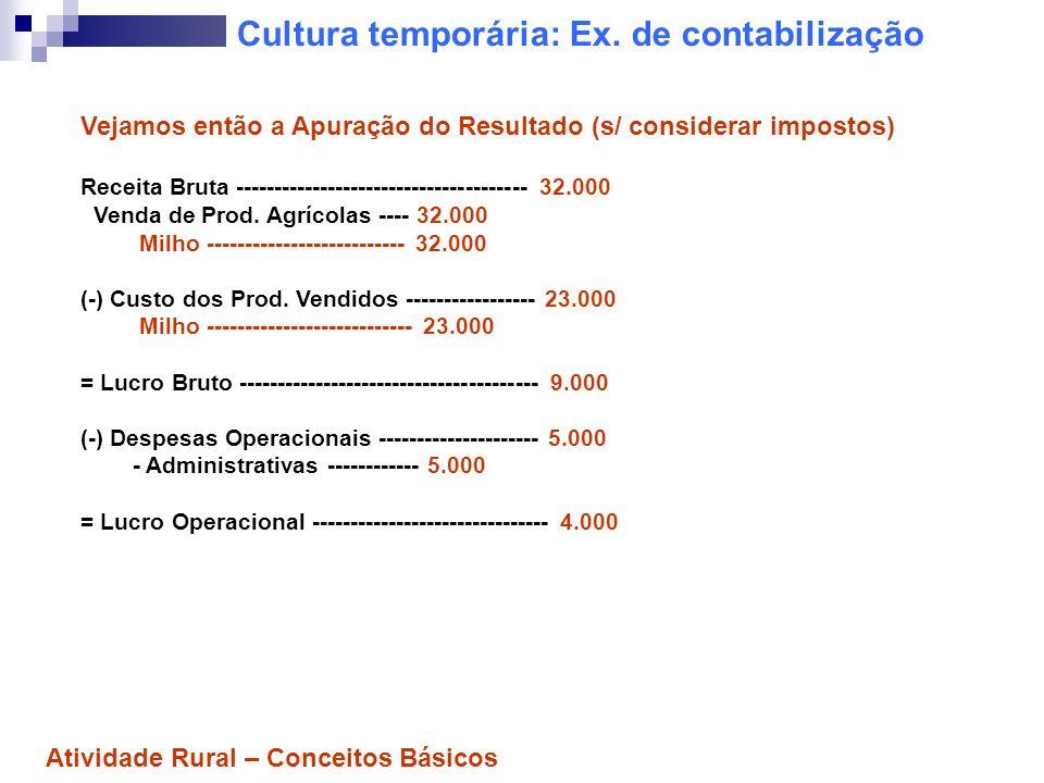 Cultura temporária: Ex. de contabilização Vejamos então a Apuração do Resultado (s/ considerar impostos) Receita Bruta -------------------------------