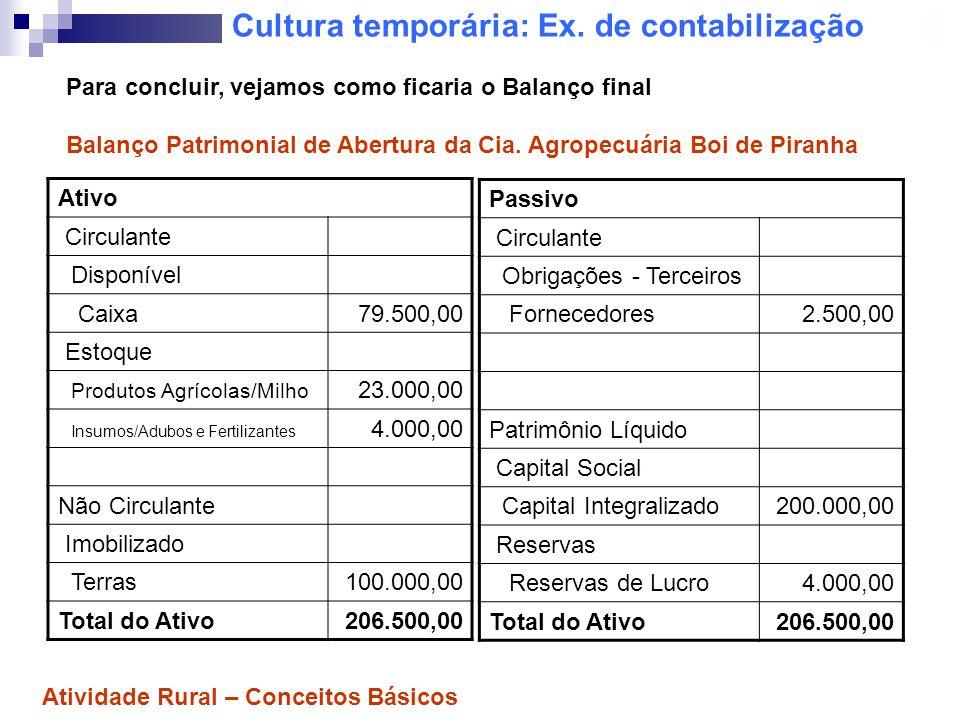 Cultura temporária: Ex. de contabilização Ativo Circulante Disponível Caixa79.500,00 Estoque Produtos Agrícolas/Milho 23.000,00 Insumos/Adubos e Ferti