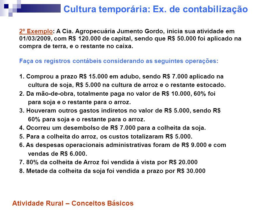 Cultura temporária: Ex. de contabilização 2º Exemplo: A Cia. Agropecuária Jumento Gordo, inicia sua atividade em 01/03/2009, com R$ 120.000 de capital