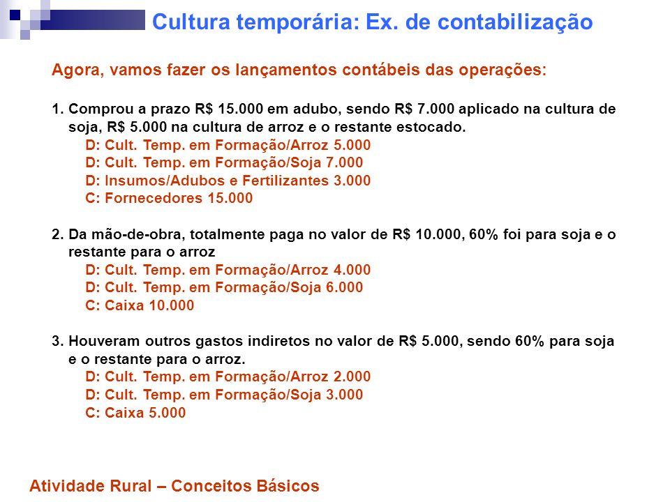 Cultura temporária: Ex. de contabilização Agora, vamos fazer os lançamentos contábeis das operações: 1. Comprou a prazo R$ 15.000 em adubo, sendo R$ 7