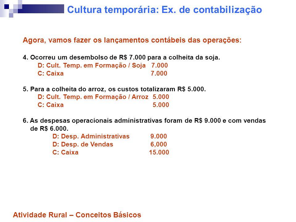 Cultura temporária: Ex. de contabilização Agora, vamos fazer os lançamentos contábeis das operações: 4. Ocorreu um desembolso de R$ 7.000 para a colhe