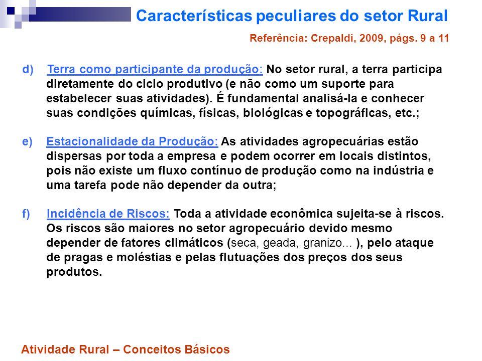 Características peculiares do setor Rural d) Terra como participante da produção: No setor rural, a terra participa diretamente do ciclo produtivo (e