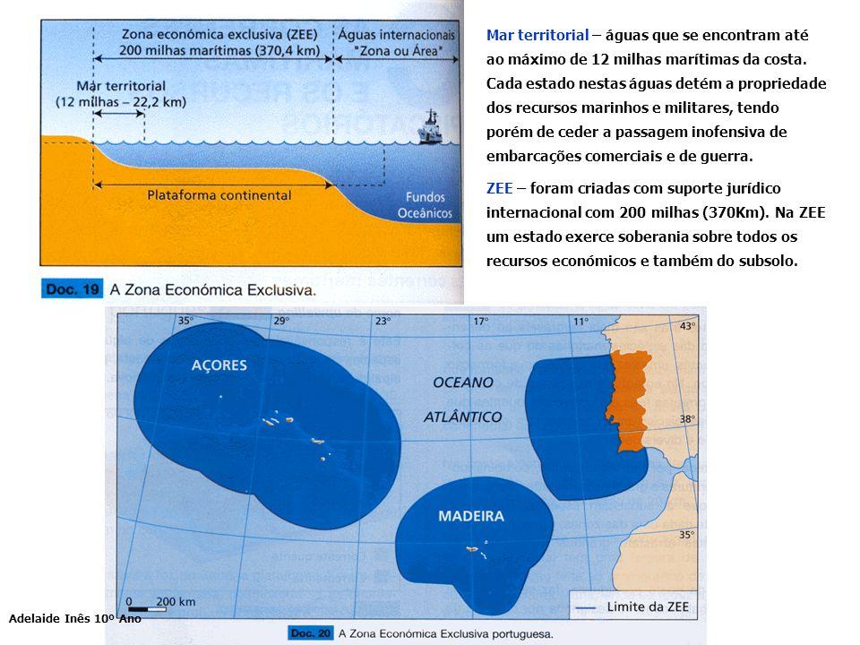 Mar territorial – águas que se encontram até ao máximo de 12 milhas marítimas da costa. Cada estado nestas águas detém a propriedade dos recursos mari