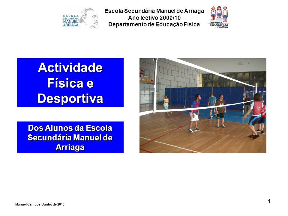 1 Actividade Física e Desportiva Dos Alunos da Escola Secundária Manuel de Arriaga Escola Secundária Manuel de Arriaga Ano lectivo 2009/10 Departament