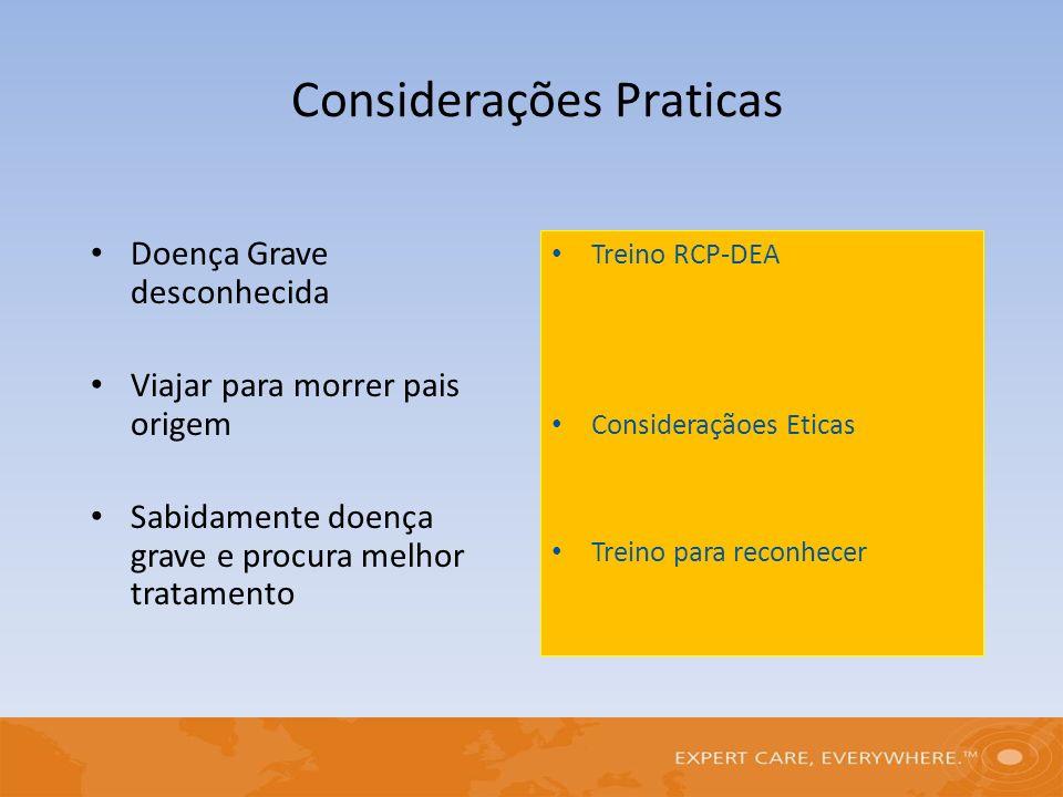 Doença Grave desconhecida Viajar para morrer pais origem Sabidamente doença grave e procura melhor tratamento Treino RCP-DEA Consideraçãoes Eticas Tre