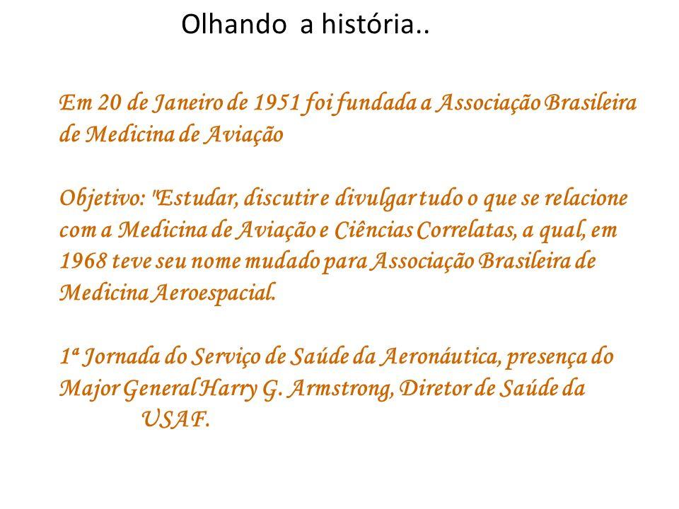 Olhando a história.. Em 20 de Janeiro de 1951 foi fundada a Associação Brasileira de Medicina de Aviação Objetivo: