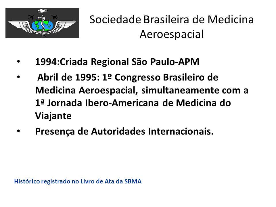 Sociedade Brasileira de Medicina Aeroespacial 1994:Criada Regional São Paulo-APM Abril de 1995: 1º Congresso Brasileiro de Medicina Aeroespacial, simu