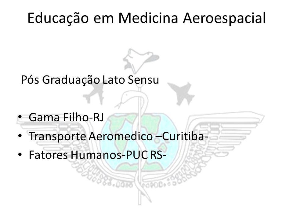 Educação em Medicina Aeroespacial Pós Graduação Lato Sensu Gama Filho-RJ Transporte Aeromedico –Curitiba- Fatores Humanos-PUC RS-