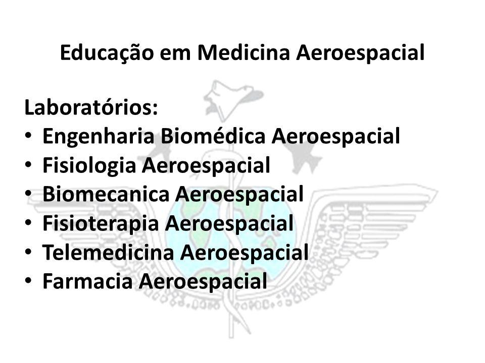 Educação em Medicina Aeroespacial Laboratórios: Engenharia Biomédica Aeroespacial Fisiologia Aeroespacial Biomecanica Aeroespacial Fisioterapia Aeroes
