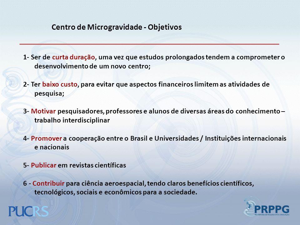 Centro de Microgravidade - Objetivos 1- Ser de curta duração, uma vez que estudos prolongados tendem a comprometer o desenvolvimento de um novo centro