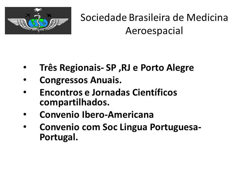 Sociedade Brasileira de Medicina Aeroespacial Três Regionais- SP,RJ e Porto Alegre Congressos Anuais. Encontros e Jornadas Científicos compartilhados.