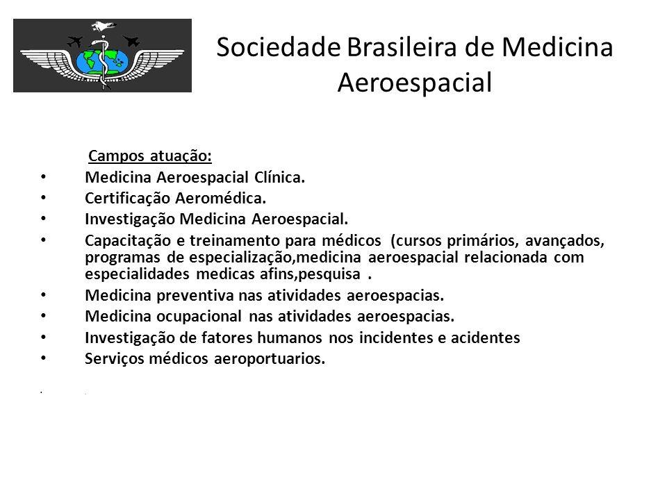 Sociedade Brasileira de Medicina Aeroespacial Campos atuação: Medicina Aeroespacial Clínica. Certificação Aeromédica. Investigação Medicina Aeroespaci