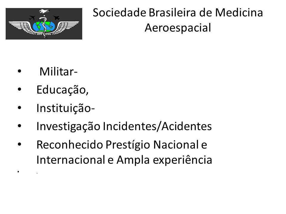 Sociedade Brasileira de Medicina Aeroespacial Militar- Educação, Instituição- Investigação Incidentes/Acidentes Reconhecido Prestígio Nacional e Inter