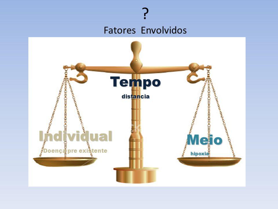 ? Fatores EnvolvidosIndividual Doença pre existente Meio Meiohipoxia Tempodistancia