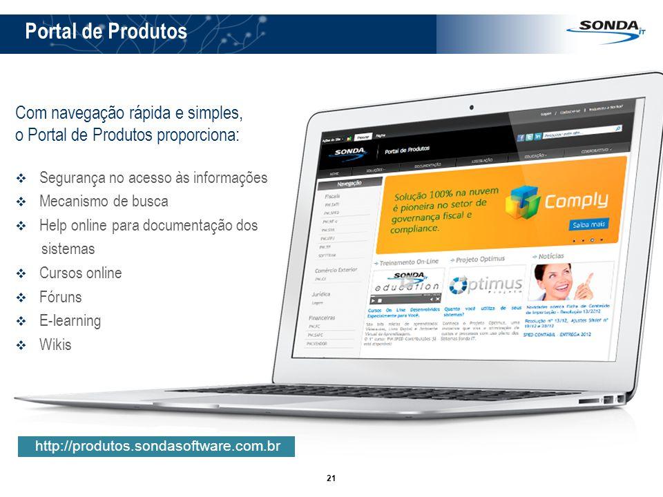 21 Portal de Produtos http://produtos.sondasoftware.com.br Com navegação rápida e simples, o Portal de Produtos proporciona: Segurança no acesso às in