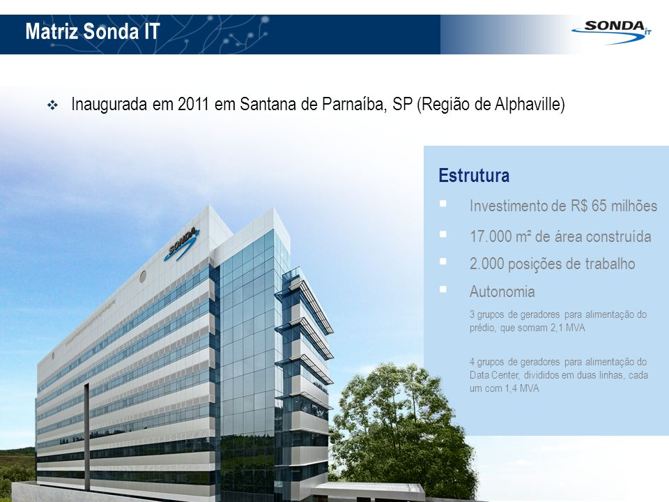Matriz Sonda IT Inaugurada em 2011 em Santana de Parnaíba, SP (Região de Alphaville) Estrutura Investimento de R$ 65 milhões 17.000 m² de área constru