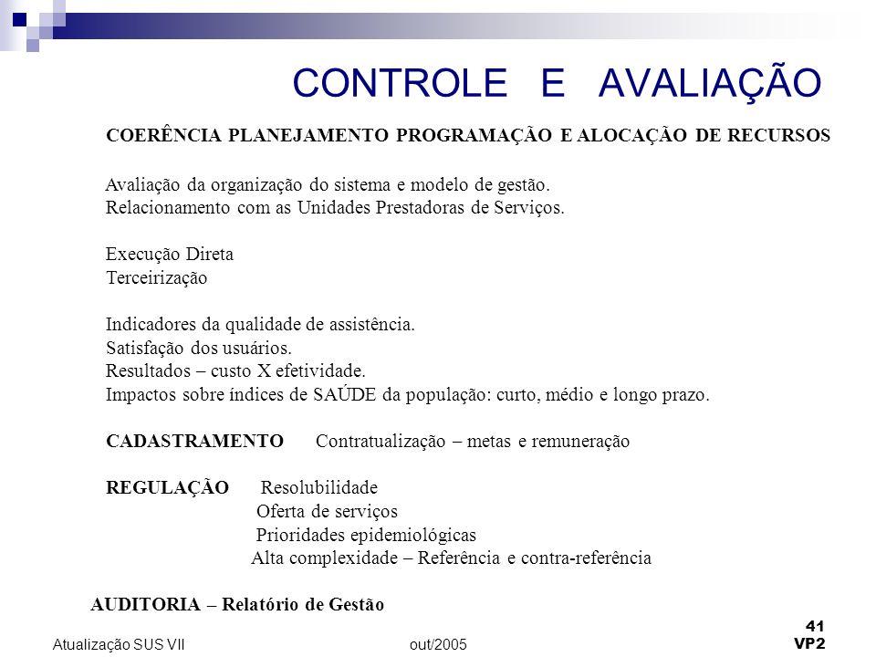 out/2005 41 VP2 Atualização SUS VII CONTROLE E AVALIAÇÃO COERÊNCIA PLANEJAMENTO PROGRAMAÇÃO E ALOCAÇÃO DE RECURSOS Avaliação da organização do sistema e modelo de gestão.