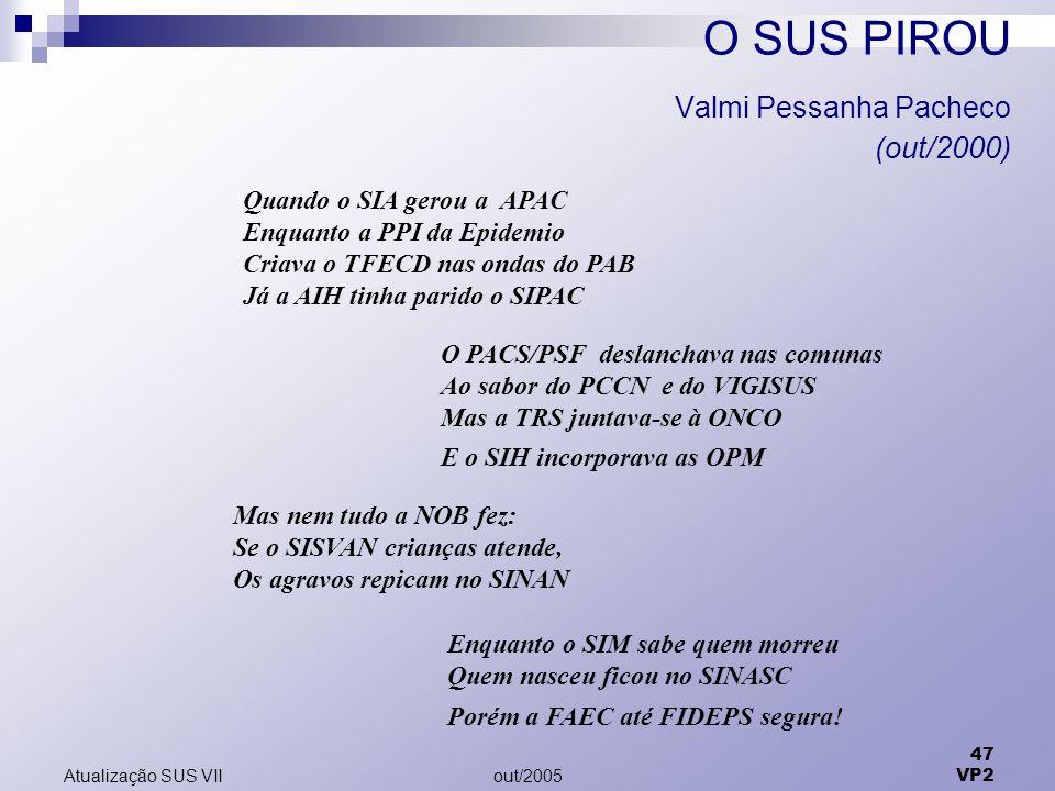 out/2005 47 VP2 Atualização SUS VII O SUS PIROU Valmi Pessanha Pacheco (out/2000) Quando o SIA gerou a APAC Enquanto a PPI da Epidemio Criava o TFECD