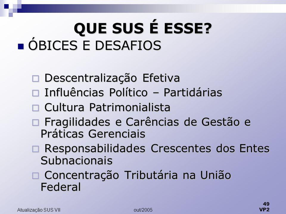out/2005 49 VP2 Atualização SUS VII QUE SUS É ESSE.