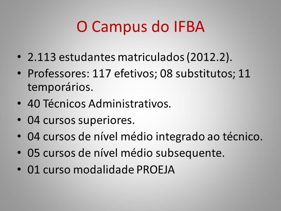 O Campus do IFBA 2.113 estudantes matriculados (2012.2). Professores: 117 efetivos; 08 substitutos; 11 temporários. 40 Técnicos Administrativos. 04 cu