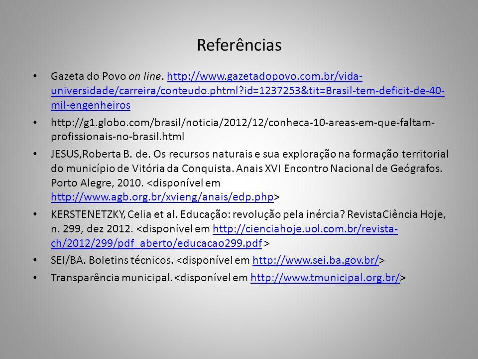 Referências Gazeta do Povo on line. http://www.gazetadopovo.com.br/vida- universidade/carreira/conteudo.phtml?id=1237253&tit=Brasil-tem-deficit-de-40-