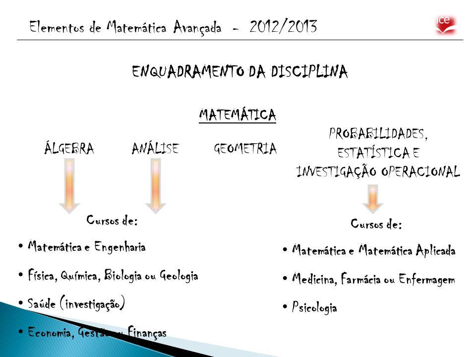 Elementos de Matemática Avançada - 2012/2013 ENQUADRAMENTO DA DISCIPLINA MATEMÁTICA ÁLGEBRAANÁLISEGEOMETRIA PROBABILIDADES, ESTATÍSTICA E INVESTIGAÇÃO