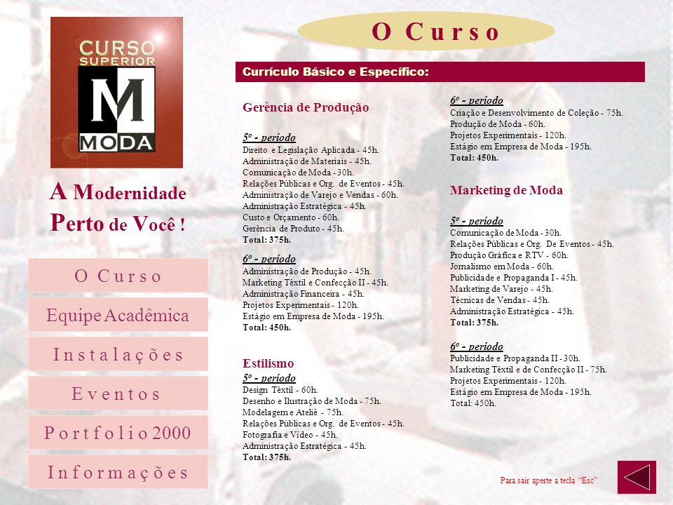 A M odernidade P erto de V ocê ! Currículo Básico e Específico: 1 o - período Língua Portuguesa I - 30h. Sociologia Geral e Aplicada - 45h. Língua Est