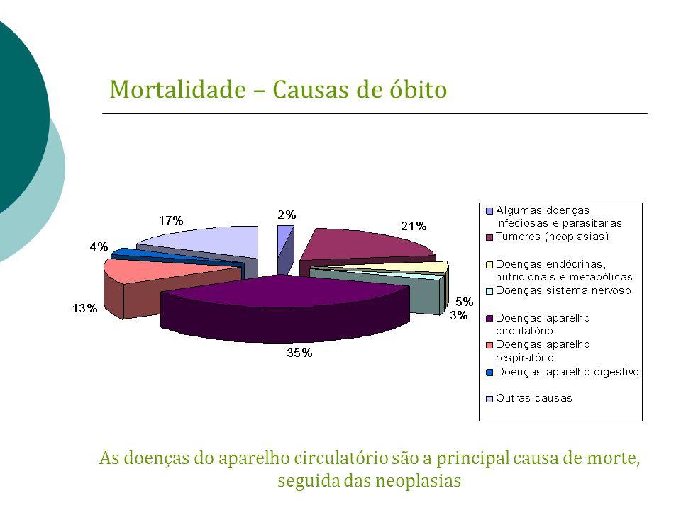Mortalidade – Causas de óbito As doenças do aparelho circulatório são a principal causa de morte, seguida das neoplasias