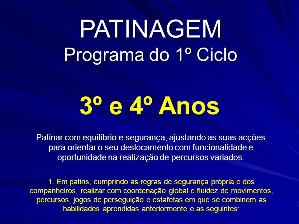 PATINAGEM Programa do 1º Ciclo 3º e 4º Anos 1. Em patins, cumprindo as regras de segurança própria e dos companheiros, realizar com coordenação global