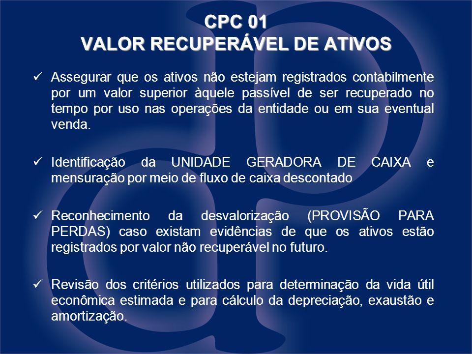 CPC 01 VALOR RECUPERÁVEL DE ATIVOS Assegurar que os ativos não estejam registrados contabilmente por um valor superior àquele passível de ser recuperado no tempo por uso nas operações da entidade ou em sua eventual venda.