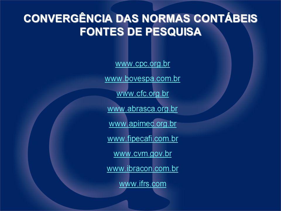 CONVERGÊNCIA DAS NORMAS CONTÁBEIS FONTES DE PESQUISA www.cpc.org.br www.bovespa.com.br www.cfc.org.br www.abrasca.org.br www.apimec.org.br www.fipecaf