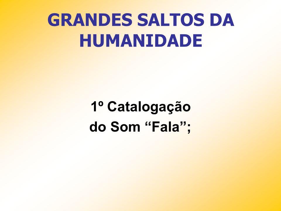GRANDES SALTOS DA HUMANIDADE 1º Catalogação do Som Fala;