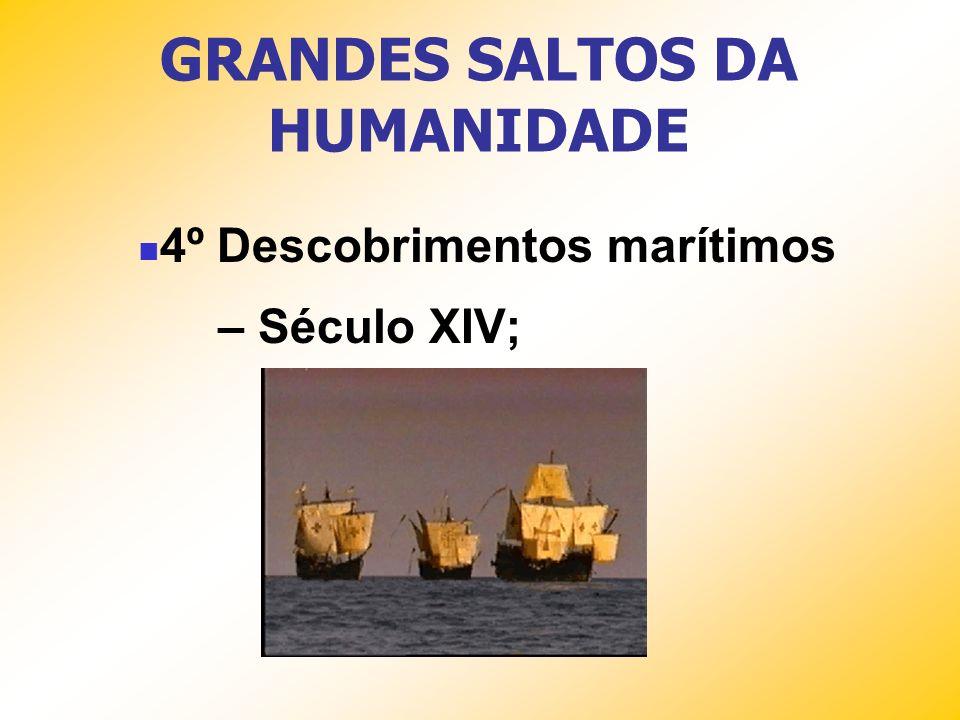 GRANDES SALTOS DA HUMANIDADE 4º Descobrimentos marítimos – Século XIV;