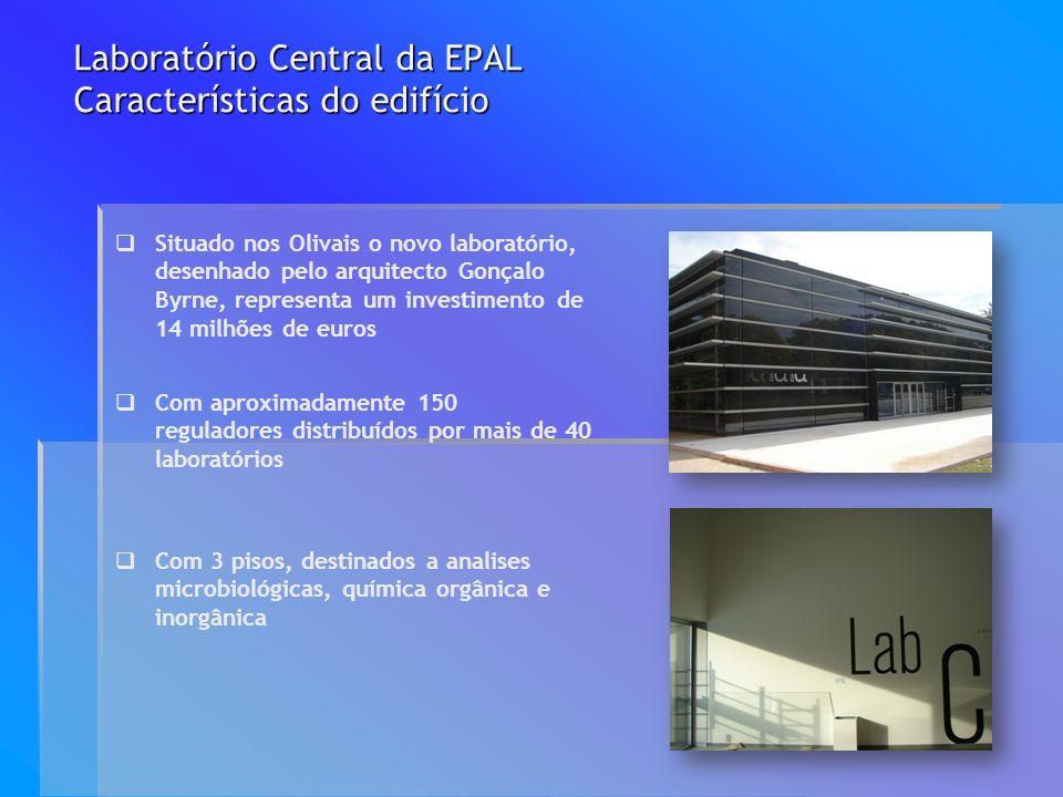 Laboratório Central da EPAL Características do edifício Com aproximadamente 150 reguladores distribuídos por mais de 40 laboratórios Situado nos Oliva