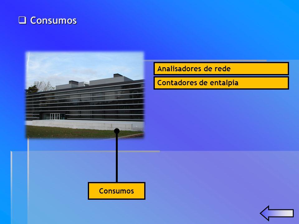 Analisadores de rede Consumos Consumos Consumos Contadores de entalpia