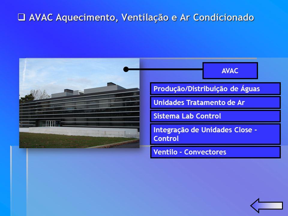 Produção/Distribuição de Águas Unidades Tratamento de Ar Sistema Lab Control AVAC AVAC Aquecimento, Ventilação e Ar Condicionado AVAC Aquecimento, Ven