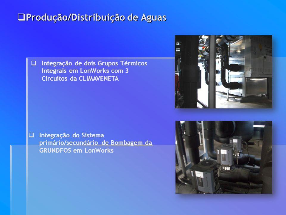 Produção/Distribuição de Aguas Produção/Distribuição de Aguas Integração de dois Grupos Térmicos Integrais em LonWorks com 3 Circuitos da CLIMAVENETA