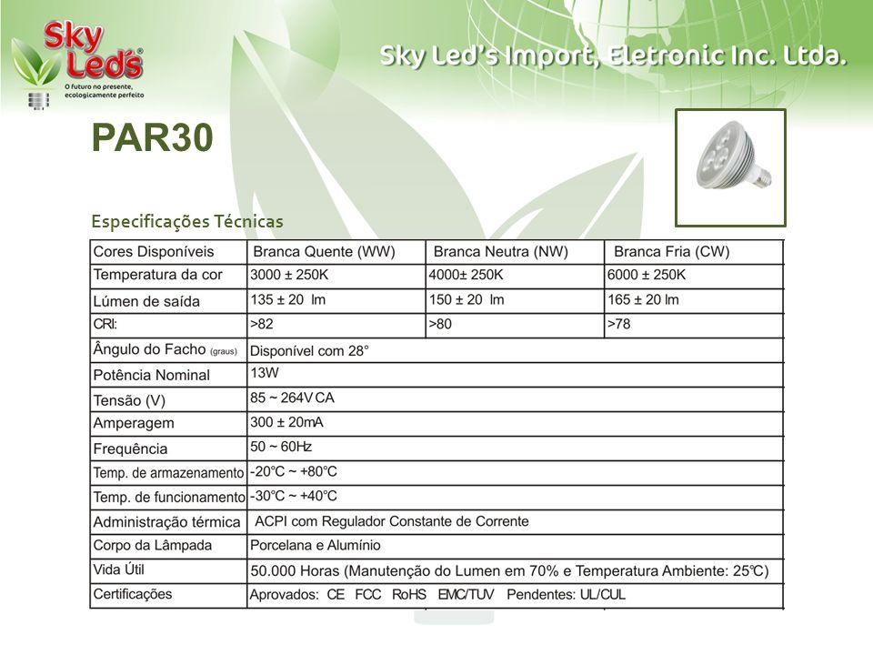 PAR30 Especificações Técnicas