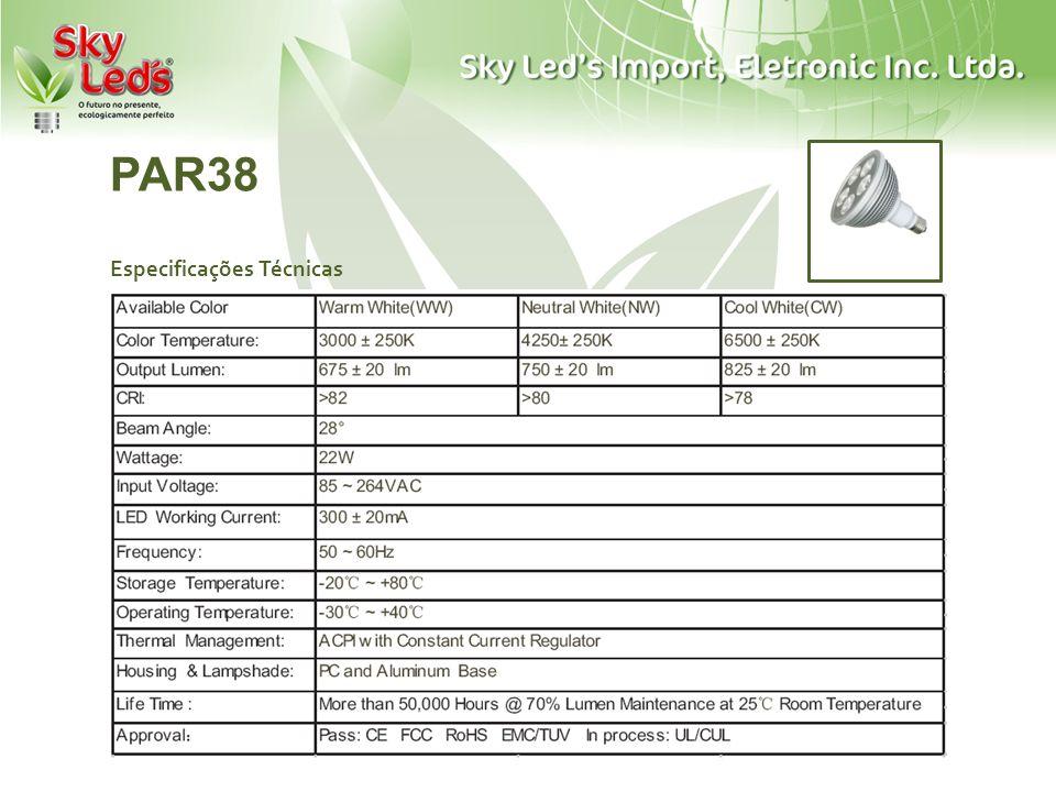 PAR38 Especificações Técnicas