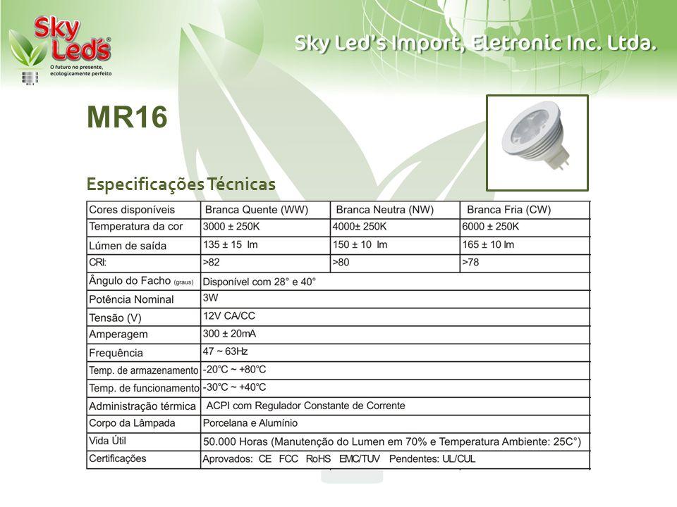 MR16 Especificações Técnicas