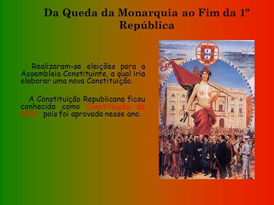 Da Queda da Monarquia ao Fim da 1º República Foi criado um governo provisório, presidido pelo Dr. Teófilo Braga. -Adoptou-se uma nova bandeira; -O hin