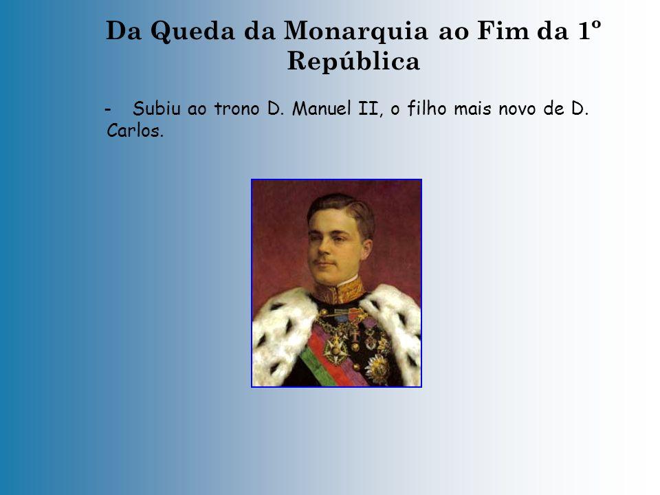 Da Queda da Monarquia ao Fim da 1º República - No dia 1 de Fevereiro de 1908, em Lisboa, quando a família real voltava de Vila Viçosa, o rei D. Carlos