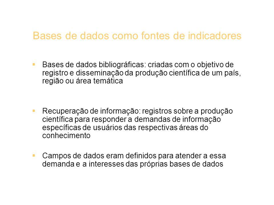 Bases de dados como fontes de indicadores Bases de dados bibliográficas: criadas com o objetivo de registro e disseminação da produção científica de u